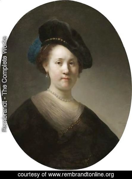 Rembrandt - Portrait Of A Young Woman With A Black Cap