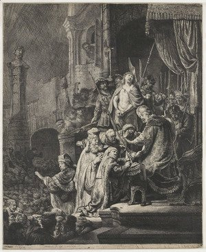 Rembrandt - Christ Before Pilate Large Plate