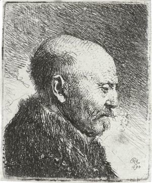 Rembrandt - Bald Headed Man In Profile Right The Artist's Father