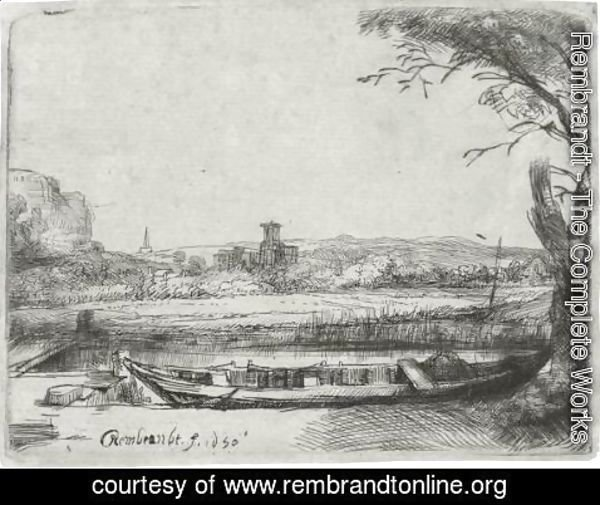 Rembrandt - Canal With A Large Boat And Bridge 2