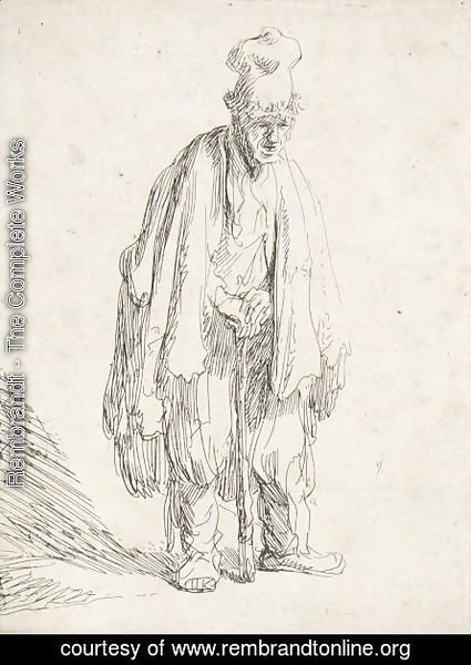 Beggar In A High Cap, Standing And Leaning On A Stick