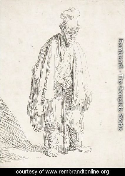 Rembrandt - Beggar In A High Cap, Standing And Leaning On A Stick