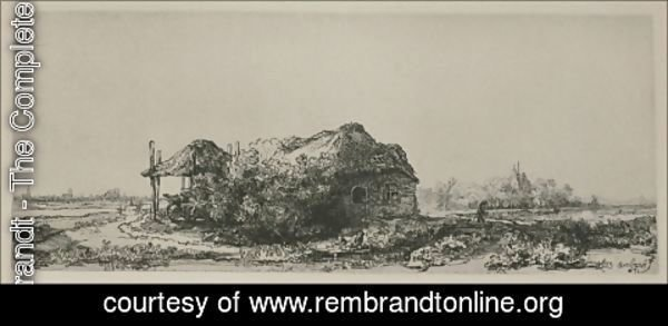 Rembrandt - Landscape With A Cottage And Haybarn