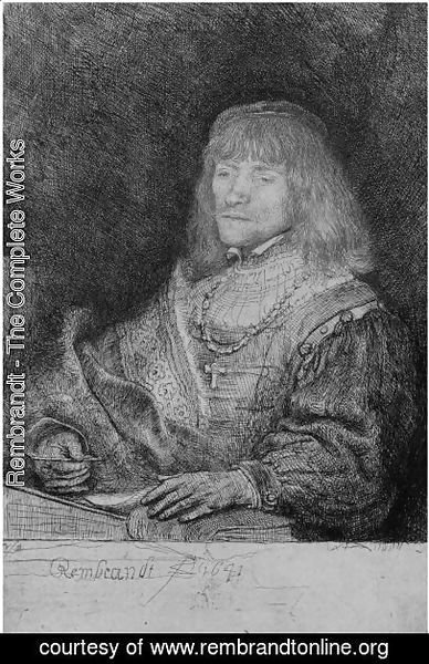 Rembrandt - Man At A Desk Wearing A Cross And Chain