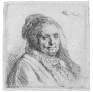 Rembrandt - Artist's mother, head and bust
