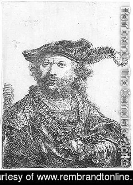 Rembrandt - Self portrait in a velvet cap with plume