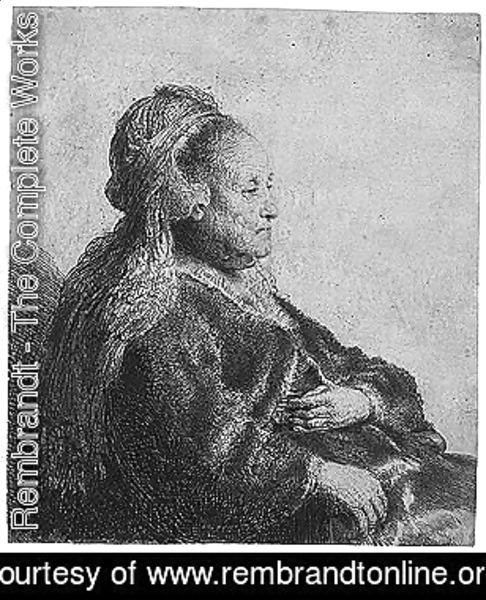 The artist's mother seated, in an oriental headdres