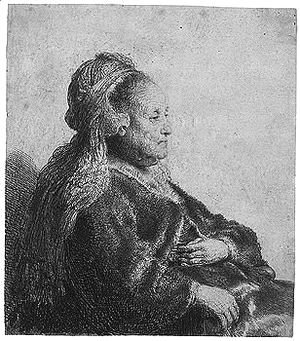 Rembrandt - The artist's mother seated, in an oriental headdres