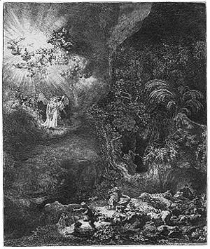 Rembrandt - The angel appearing to the shepherds 2