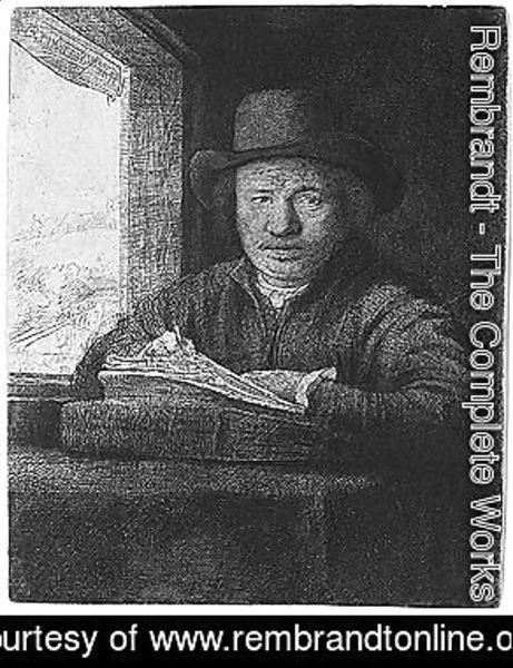 Rembrandt - Self portrait drawing at a window 2