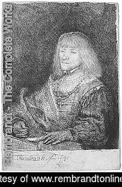 Rembrandt - Man at a desk wearing a cross and chain 2