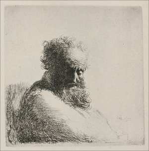 Rembrandt - Bust Of An Old Bearded Man, Looking Down, Three Quarters Right