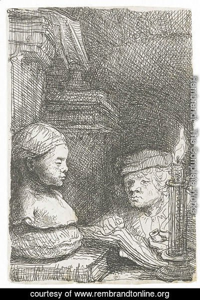 Rembrandt - Man Drawing From A Cast