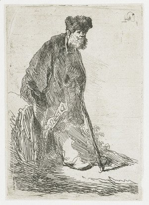 Rembrandt - Man In A Coat And Fur Cap Leaning Against A Bank