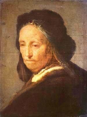 Rembrandt - Bust of an old woman with headscarf
