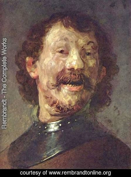 Rembrandt - Bust of a laughing man in gorget