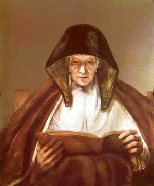 Rembrandt - Old woman, reading Polski Starsza pani