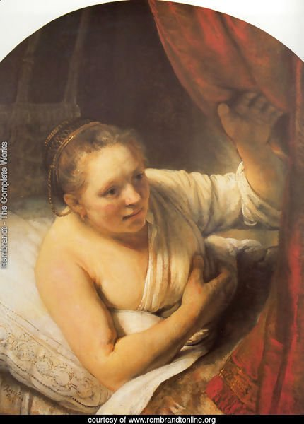 Young woman in bed (possibly Geertje)