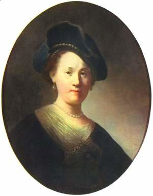 Portraits of a young woman with a pearl-studded beret, Oval