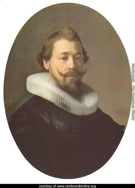Portrait of a man with a goatee and millstone collar, oval