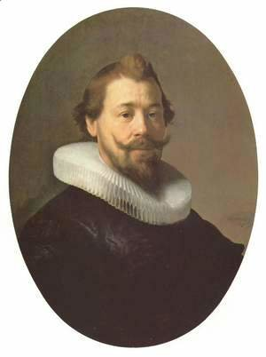 Rembrandt - Portrait of a man with a goatee and millstone collar, oval
