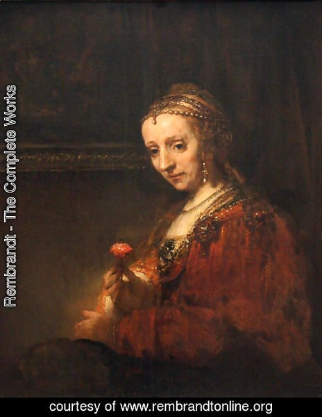 Rembrandt - Portrait of a Woman with a Pink Carnation