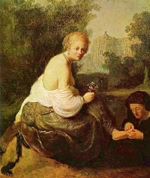 Rembrandt - Bathsheba at her toilet, seen by King David
