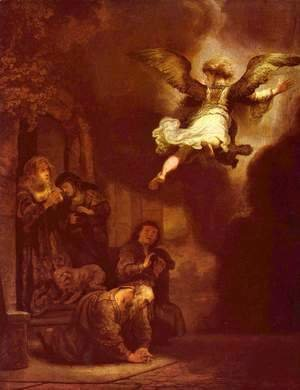 Rembrandt - The angel Raphael leaving the family of Tobit
