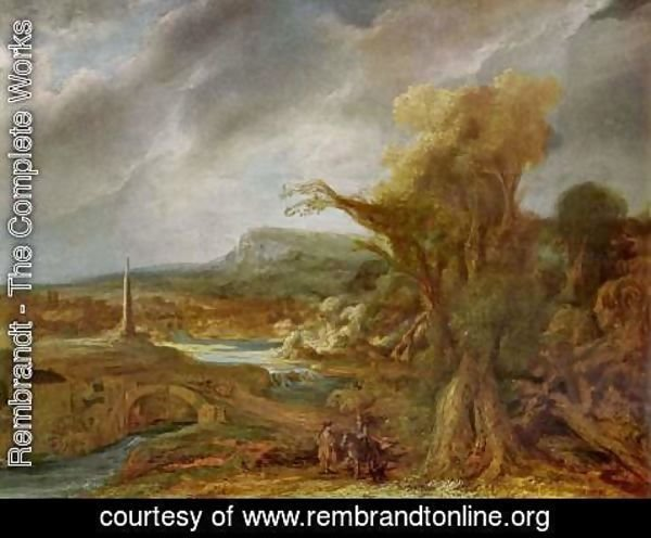 Rembrandt - Landscape with Obelisk (possibly the flight into Egypt)