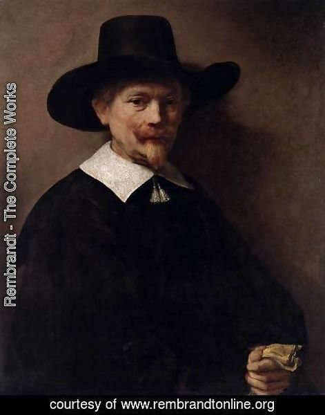 Rembrandt - Portrait of a Man Holding Gloves
