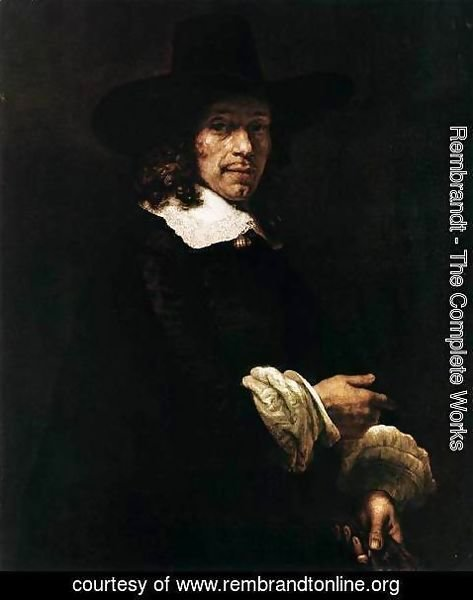 Rembrandt - Portrait of a Gentleman with a Tall Hat and Gloves
