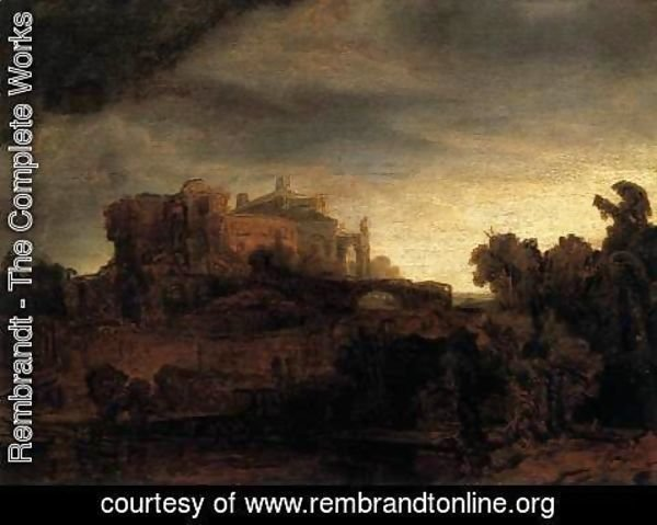 Rembrandt - Landscape with Buildings
