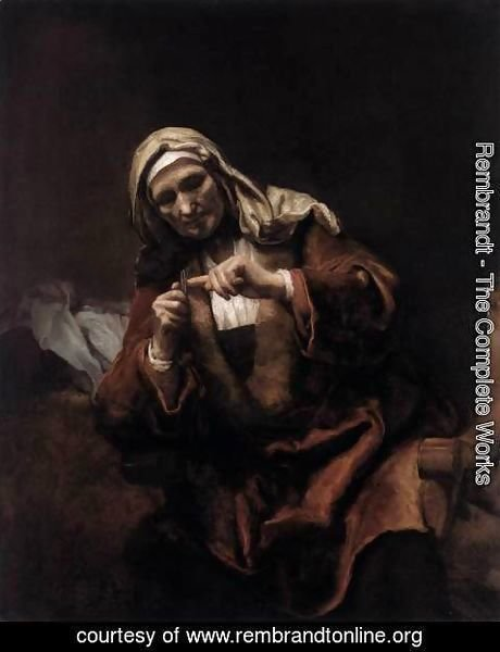 Rembrandt - Old Woman Cutting Her Nails