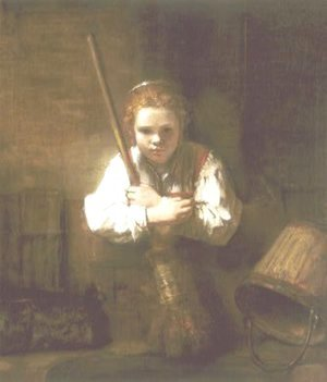 Young Woman with a Broom