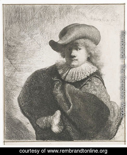 Rembrandt - Self-portrait in a soft hat and embroidered cloak