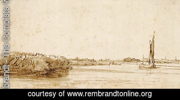 Rembrandt - A River with a Sailing Boat on Nieuwe Meer