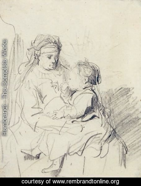 Rembrandt - A Nurse and an Eating Child