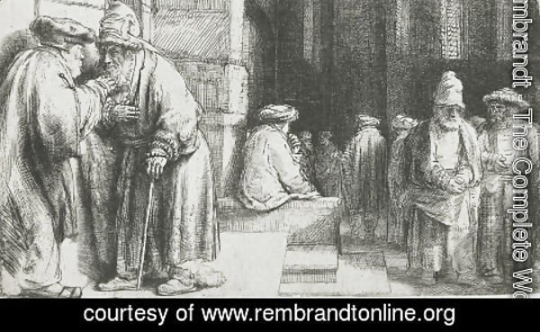 Rembrandt - Pharisees in the Temple (Jews in the synagogue)
