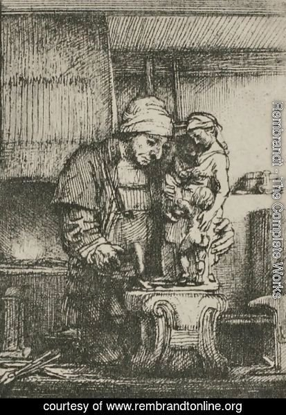 Rembrandt - An Artist Drawing from the Model