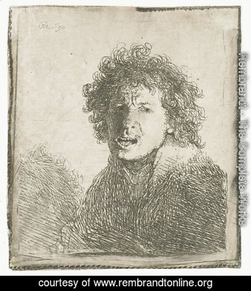 Rembrandt - Self-portrait open mouthed