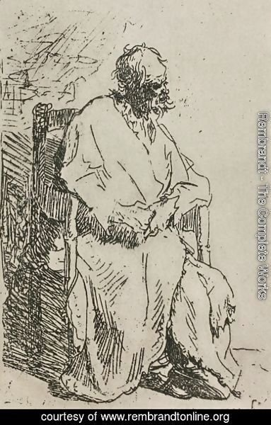 Rembrandt - A Beggar Sitting in an Elbow Chair