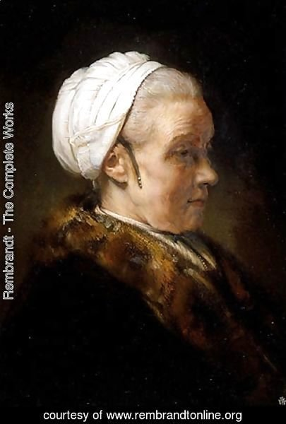 Rembrandt - Lighting Study of an Elderly Woman in a White Cap
