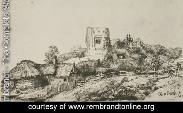 Rembrandt - A Village with a Square Tower