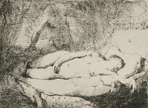 Rembrandt - A Woman Lying on a Bed