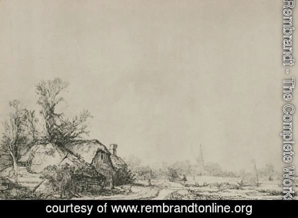 Rembrandt - A Village with a River
