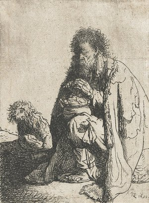 Rembrandt - Seated beggar and his dog