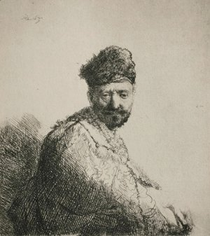 Rembrandt - A Man with a Short Beard and Embroidered Cloak
