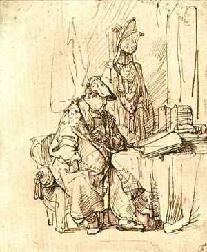 Rembrandt - A Man Seated at a Table Covered with Books