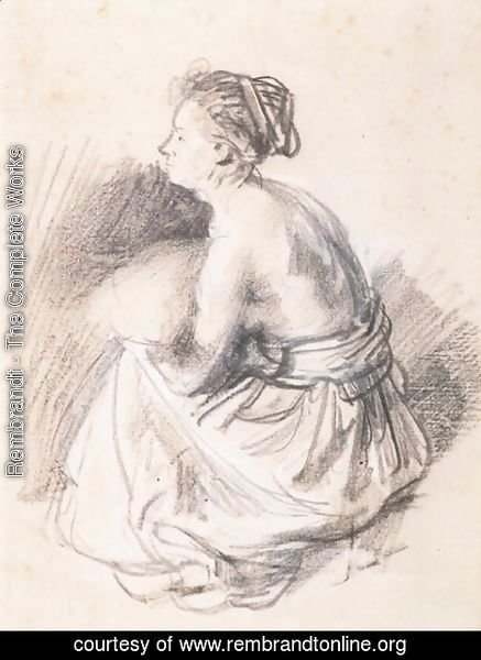 Rembrandt - A Seated Woman, Naked to the Waist