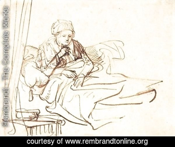 Rembrandt - A Woman Sitting up in Bed